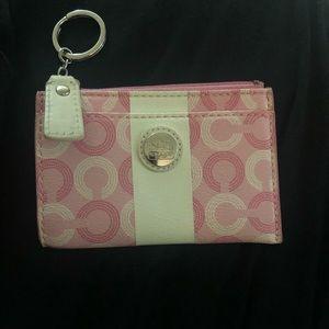 Coach pink key card case